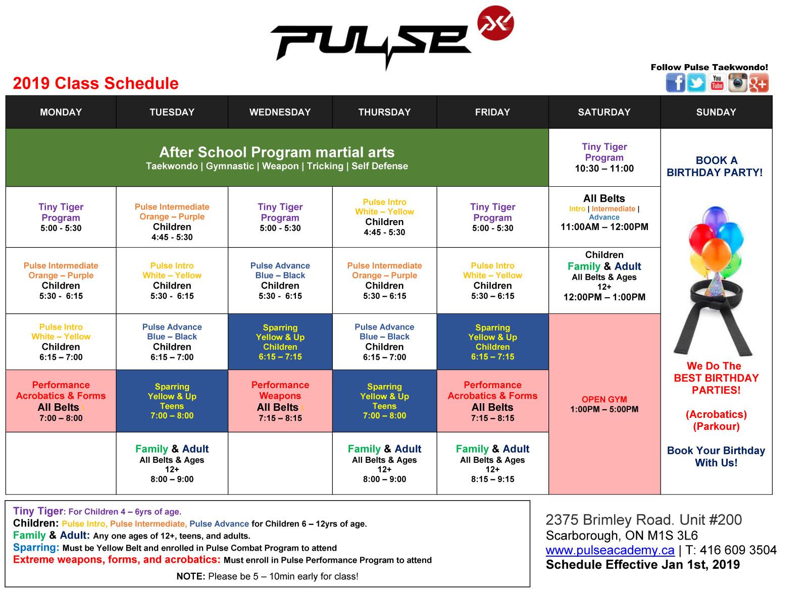 Class Schedule |